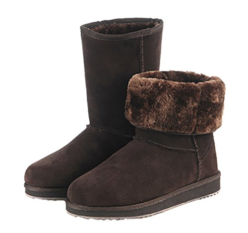 Kameiqi Women Classic Ankle Short Fluff Variable Wear Warm Snow Boots (7 B(M)Us,Chocolate)