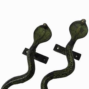 Designer Door Handle Green Home Decorative Snake Figurine Indian Brass Metal Gift Art from Indianbeautifulart