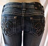 Womens Miss Me Jeans Black Leather Fleur De Lis Boot Cut Designer Jeans Vintage Medium Wash/Distressed - Crystal Accents Open Pocket, 27