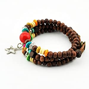 November's Chopin Unique Metal Pendant Wood Beads Leather Adjustable Wrap Bracelet