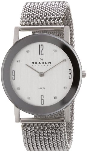 Skagen Designs Ladies Stretch Mesh Analogue Watch 39LSSS1 with Silver Dial