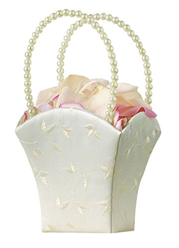 Lillian Rose Embroidery Elegant Wedding Flower Basket, 8.5-Inch, Ivory