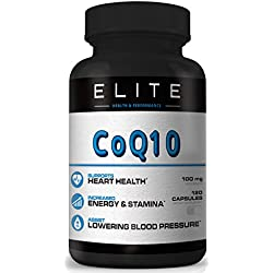 COQ10- CoEnzyme Q10 - 100MG servings- 120 Capsules - Reduce High Blood Pressure Vitamins - Total Heart Health Vitamins - Healthy Aging- lower ldl cholesterol support naturally - Chest Pain Relief