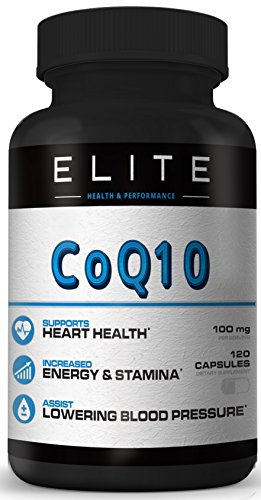 COQ10- CoEnzyme Q10 - 100MG servings- 120 Capsules - Reduce High Blood Pressure Vitamins - Total Heart Health Vitamins - Healthy Aging- lower ldl cholesterol support naturally - Chest Pain Relief (Blood Pressure Lower compare prices)