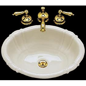 Bates and Bates GEORGIA-BI Georgia Oval Drop-In Lavatory Sink, Biscuit