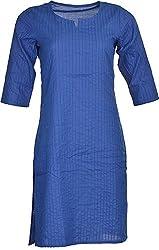 Artisan Women's Cotton Straight Kurta (CZF10039_M, Blue, M)