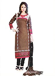 Elegant Trendz Womens Cotton Semi Stitched Embroiderey Dress (ET01_Brown and Black)