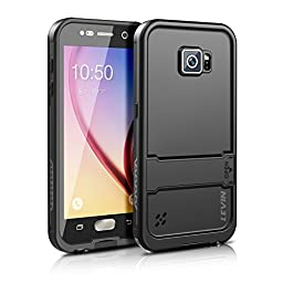 Samsung Galaxy S6 Waterproof Case , Levin® [New Version] 6.6ft Underwater Waterproof Shockproof Dirtproof Full Sealed Protective Case Cover for S6 (Black)
