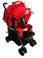 Duo Twin Tandem Pushchair complete with 2 seat units, fully reclining lie back at the rear for born, front seat from 6 months.Comes complete with free rain cover. BLACK Chassis Black Midnight SEATS/BERRY RED HOODS by kidz kargo