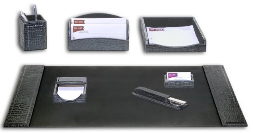 Dacasso Black Crocodile Embossed Leather Desk Set, 7-Piece