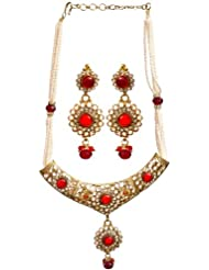 Exotic India Faux Pearl And Red Glass Polki Necklace With Earrings Set - Copper Alloy With Curt Glas