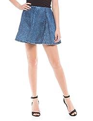 Shuffle Women's Skinny Skirt (1021517701_Medium Blue Wash_X-Small)