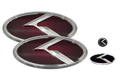 3D K Logo Emblem Red & Chrome Edition Set 4pc Front + Rear + Steering Wheel + Mini Sticker (Fit: KIA 2009-2013 Forte Koup , Cerato Koup) (Kia Forte Emblem Red compare prices)