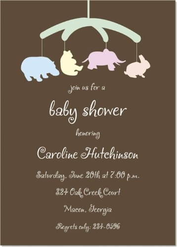 Baby Animal Mobile Baby Shower Invitations