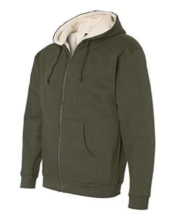 Sherpa Lined Full-Zip Hooded Sweatshirt,army/nat 2xl