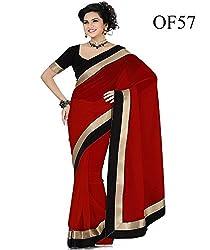 kesar fashion red color chiffon saree