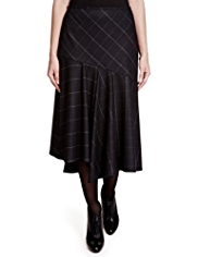 Per Una Window Pane Checked Long Skirt with Wool