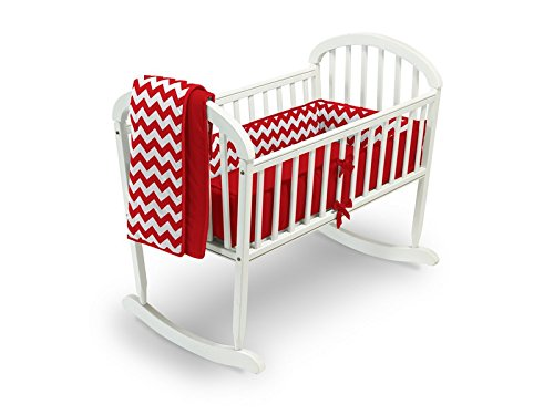 Baby Doll Bedding Chevron Cradle Bedding Set, Red