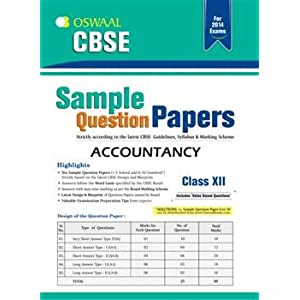 Oswaal CBSE Sample Question Papers, Accountancy for Class 12