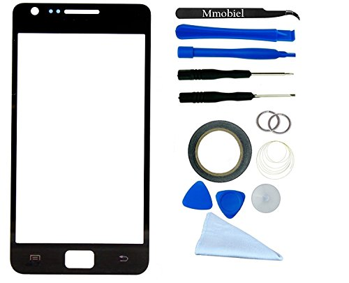 SAMSUNG GALAXY S2 i9100 i9105 i777 i727 D610 R760 BLACK DISPLAY Display Touchscreen Replacement Kit 14 Pieces Including 1 Replacement Front Glass For Samsung GALAXY S2 i9100 i9105 i777 i727 D610 R760 / 1 Pair Of Tweezers / Pre Cut Stikcer / 1 Roll Of 2MM Adhesive Tape / 1 Tool Kit / 1 Microfiber Cleaning Cloth / Suction Cup / Wire HIGH QUALITY DISPLAY TOUCHSCREEN FRONT GLASS (Samsung Galaxy S2 Repair Kit compare prices)