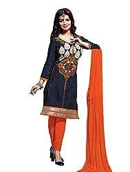 Leela Creators Women's Blue Cotton Semi-Stitched Suits Dress Materials (Free Size_Blue_127)