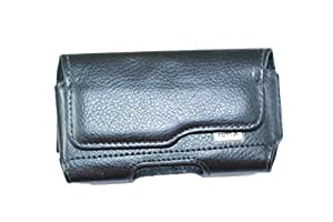 Generic Premium Leather Fabric Steel Belt Pouch for - Apple iPhone 3G S - BLACK - SBPBK52#0095DR