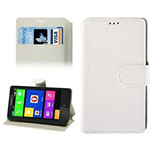 Fine Sheepskin Texture Leather Case with Credit Card Slots & Holder for Nokia X / X+ (White)