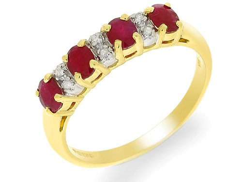 Eternity Ring, 9ct Yellow Gold Diamond and Ruby Ring, Claw Set