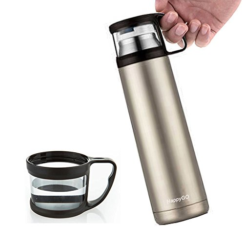 HappyGo Vacuum Insulated Double Wall Stainless Steel Water Bottle Travel Mugs Thermos Beverage Bottle for Cold and Hot Drinks, 16 oz, Champagne (Cold Beverage Travel compare prices)