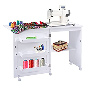 Giantex White Folding Swing Craft Table Shelves Storage Cabinet Home Furniture W/Wheels