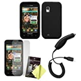 Black Silicone Case / Skin / Cover, LCD Screen Guard / Protector & Car Charger for Samsung Fascinate / Mesmerize / SCH-I500