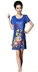 Fancy western wear and party designer wear Georgette,Crepe Dark Blue Colour Digital Print Round Neck Half Sleeve Regular Fit Top/One piece by H K Sales(Size-L ; XL)