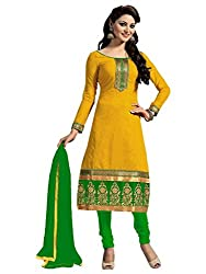 Regalia Ethnic New Collection Yellow And Green Chanderi Cotton Embroidered Unstitched Dress Material With Matching Dupatta