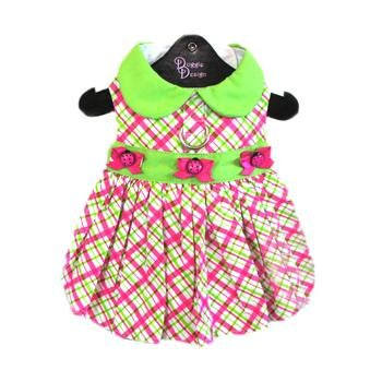 "Doggie Design Bright Plaid Lady Bug Party Harness Dress for small dogs in Size Small (Chest 13""-16"", Neck 10""-13"", pets weighing 6-10 Lbs.)"