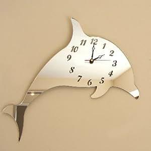 Horloge en forme de dauphin avec miroir 30 cm x 20 cm