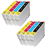 8 Kompatible Tintenpatronen Druckerpatronen-2x T0711 schwarz,2x T0712 Cyan,2x T0713 Magenta,2x T0714 Gelb