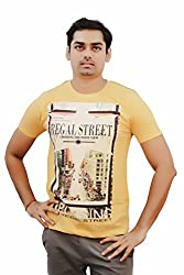 Kothari Men's Mission Yellow short sleeve Round neck T.shirt