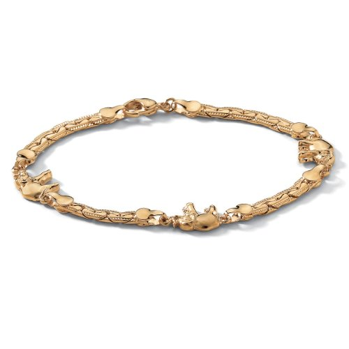 14k Yellow Gold-Plated Elephant-Link Ankle Bracelet 10