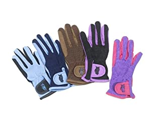 Ovation Childs Pony Rider Gloves,BLK/SKY A 8-10