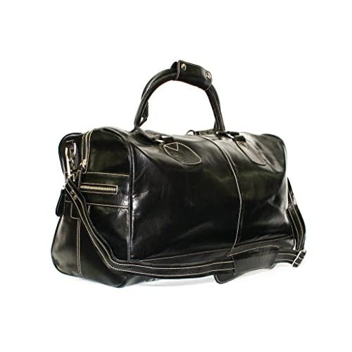 Large Black Real Premium Leather Holdall Duffle Travel Sports Gym Luxury <strong>Designer Weekend Bag< strong>