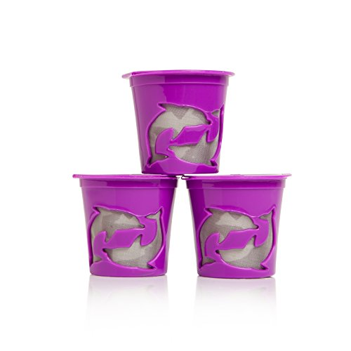 Filip Coffee – Refillable K-Cup Pods for All Keurig Machines – 8ml Scoop Included – Set of 3 Pods (Purple)