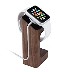 Apple Watch Stand, eLander Handcrafted Wood Stand Apple Watch Charging Dock / Station / Platform iWatch Charging Stand Bracket Docking Station Holder for 2015 Apple Watch 38/42mm Sport Edition All Models (Walnut)