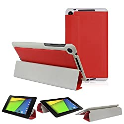 2010kharido Magnetic Smart PU Leather Stand Case Cover for 2013 ASUS Google Nexus 7 FHD 2nd Red