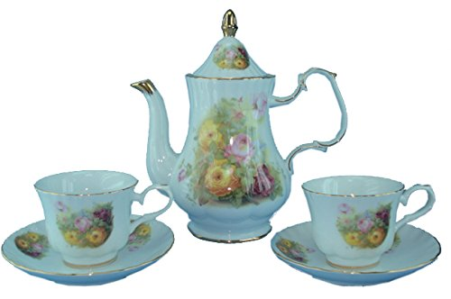Green Pastures Wholesale Yellow Rose Porcelain Tea Set, 9-Inch By 10-Inch