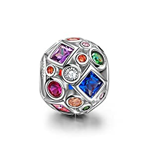 Ninaqueen 925 Sterling Silver Colorful Rainbow Openwork Charms Fit Pandora Bracelet(NinaQueen fine jewelry is designed in Paris in limited edition collections.NinaQueen patents its designs in 64 countries around the world. Enjoy the beauty,luxury, and quality of NinaQueen) * *Ideal gift for your wife or your mother to express your love **