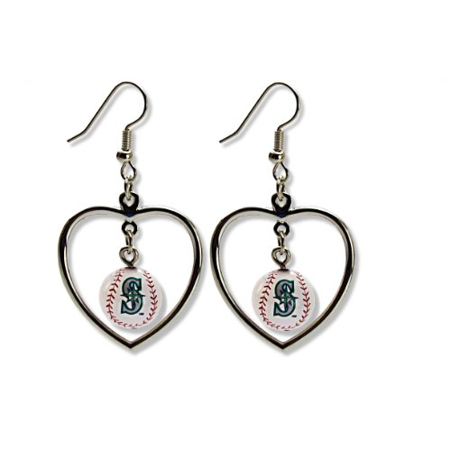 MLB Seattle Mariners Mini Baseball Heart Dangler Earrings at Amazon.com