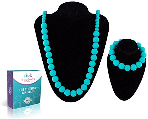 Beabies Teething Necklace for Mom to Wear and Teether Bracelet - FDA Silicone Nursing, Breastfeeding Necklace Beads Jewelry for Soothing Pain Relief - Smart Baby Shower Registry Gift
