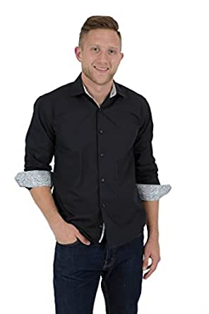 Azure milano men slim fit untucked 100 cotton shirt for Untucked shirts for sale