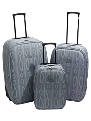 Grey Snake Print Luggage Suitcase - 3Pc Set