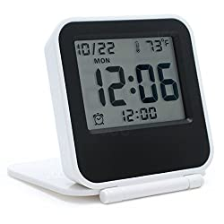 JCC Multifunction Mini Square Pocket Size Portable Folding Electronic Travel Digital Alarm Clock with Alarm clock, Calendar, Temperature, Backlight, Repeating Snooze - Battery Operated (White)